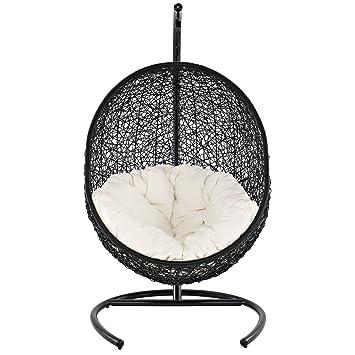 Lexmod Cocoon Wicker Rattan Outdoor Wicker Patio Swing Chair