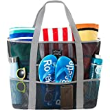 SoHo Collection, Mesh Beach Bag - Toy Tote Bag - Large Lightweight Market, Grocery & Picnic Tote with Oversized Pockets (Black and Gray)