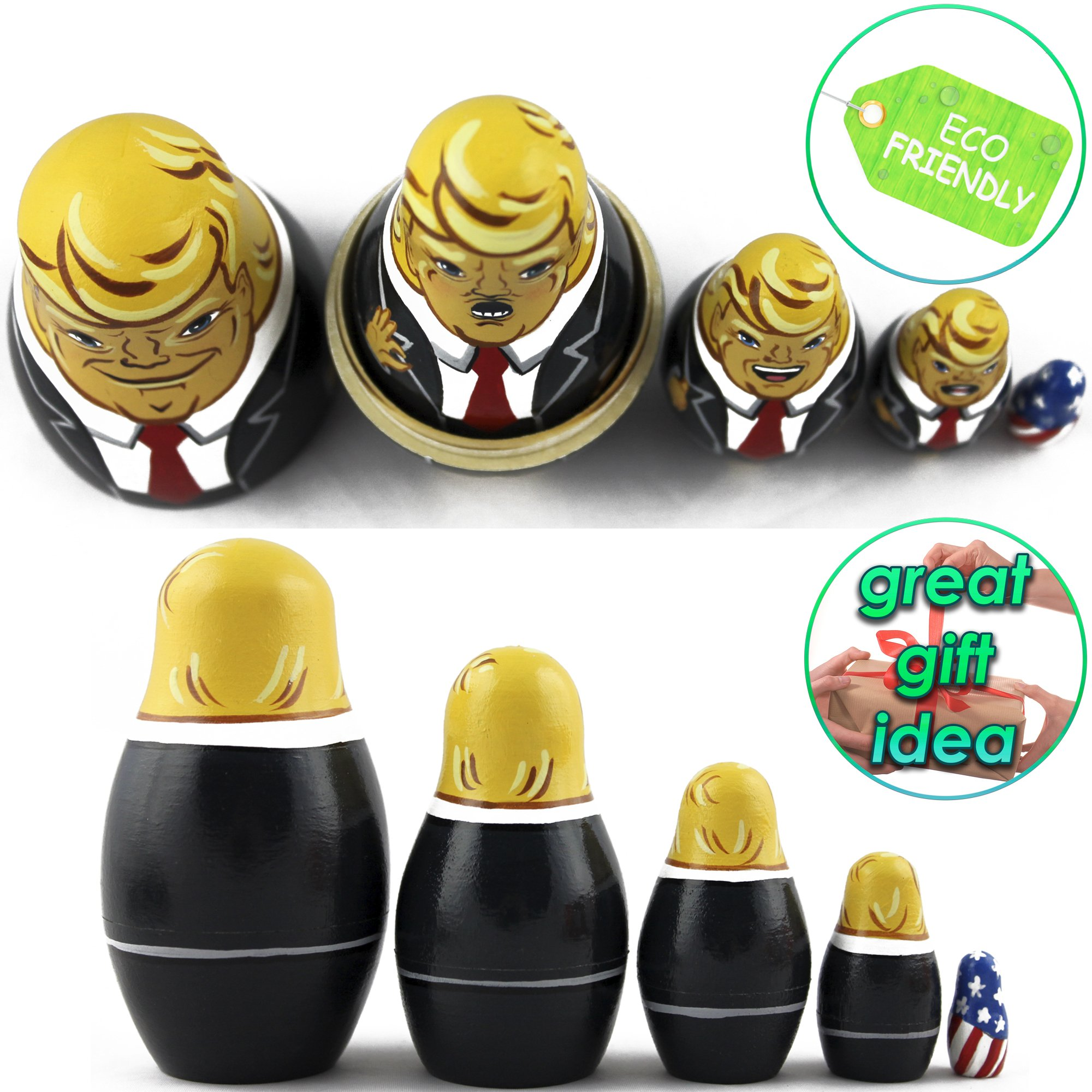 Donald Trump Gifts - Donald Trump Funny Toy Doll - Trump Nesting Dolls Gag Gifts - Set 5 pc 3.7 inches by MATRYOSHKA&HANDICRAFT (Image #6)