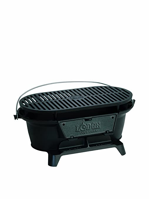 Lodge Cast Iron Sportsmans Grill. Large Charcoal Hibachi-Style Grill for Picnics, Tailgaiting, Camping or Patio. Two Adjustable Heights.