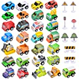 38 Car Toys Set, 30 Toy Cars and Trucks,8 Road Signs, Mini Pull Back Construction Vehicles, Perfect Birthday Party…