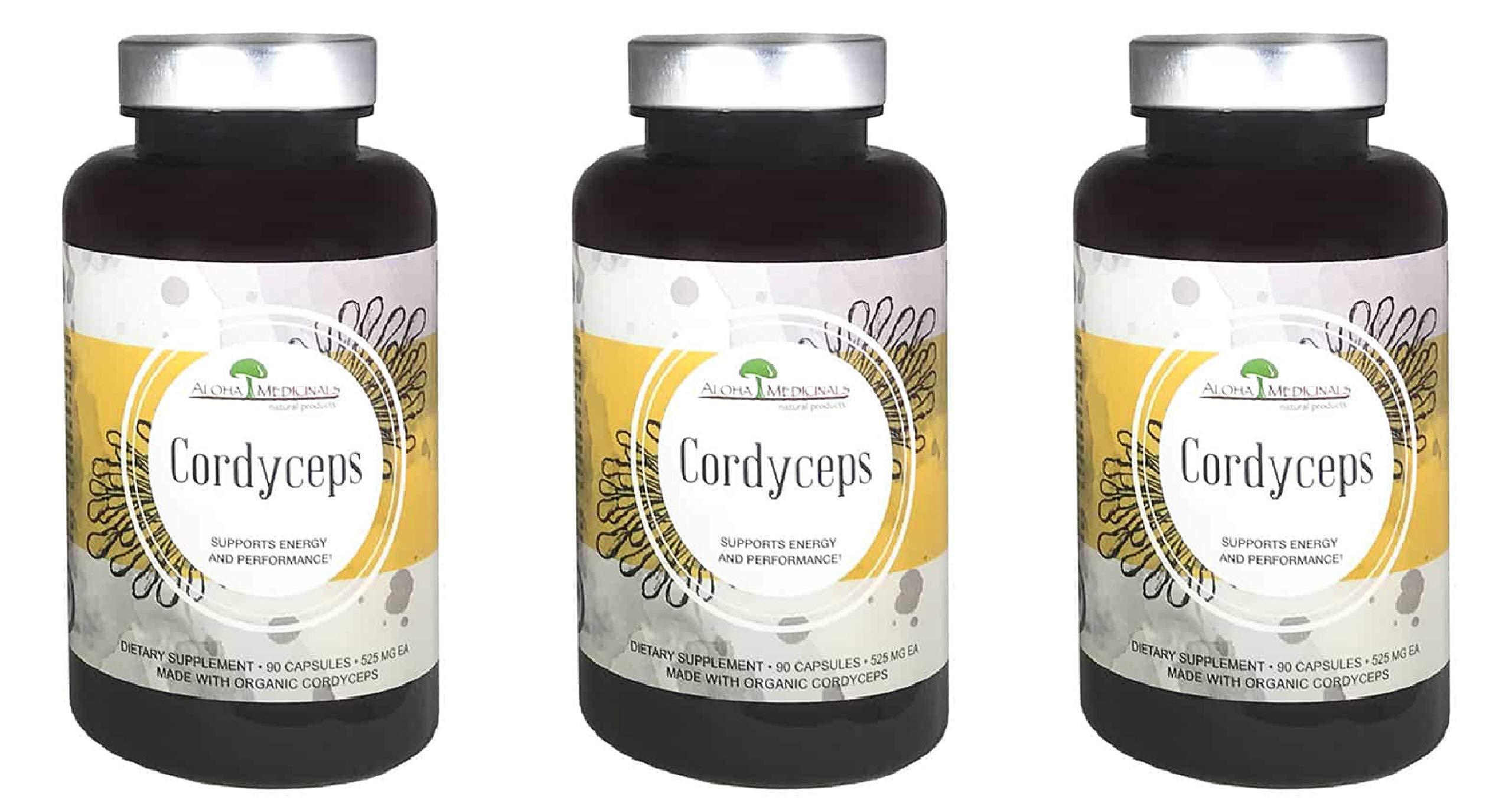 Aloha Medicinals - Pure Cordyceps - Certified Organic Mushrooms - Cordyceps Militaris - Cordyceps Sinensis - Supports Immunity, Energy and Stamina - 525mg - 90 Vegetarian Capsules (3-Pack)