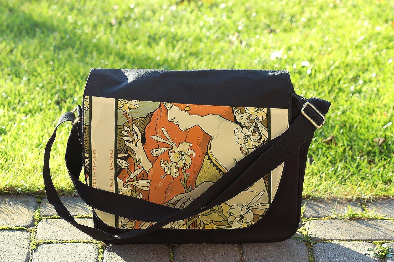 Cross Body Laptop School Work Bag Art Deco Paris Messenger Bag