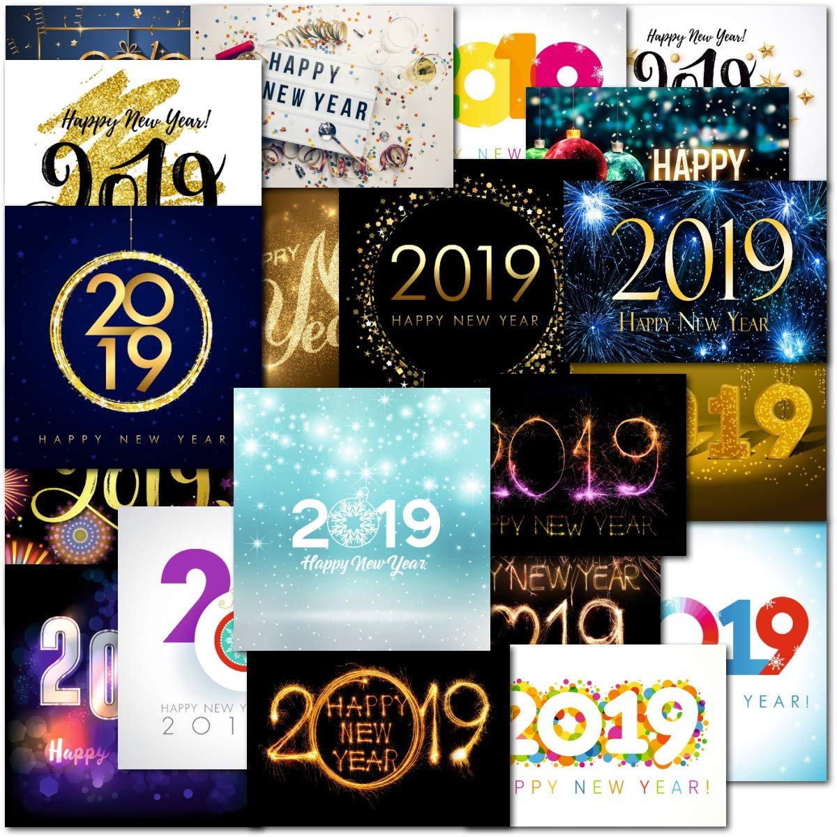 Pack Of 20 Mixed Box New Year 2019 Premium Christmas Greeting Cards