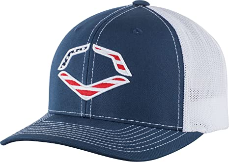 e43cf1607ef58 Image Unavailable. Image not available for. Color  EvoShield USA Flexfit  Trucker Hat-Navy White Mesh ...