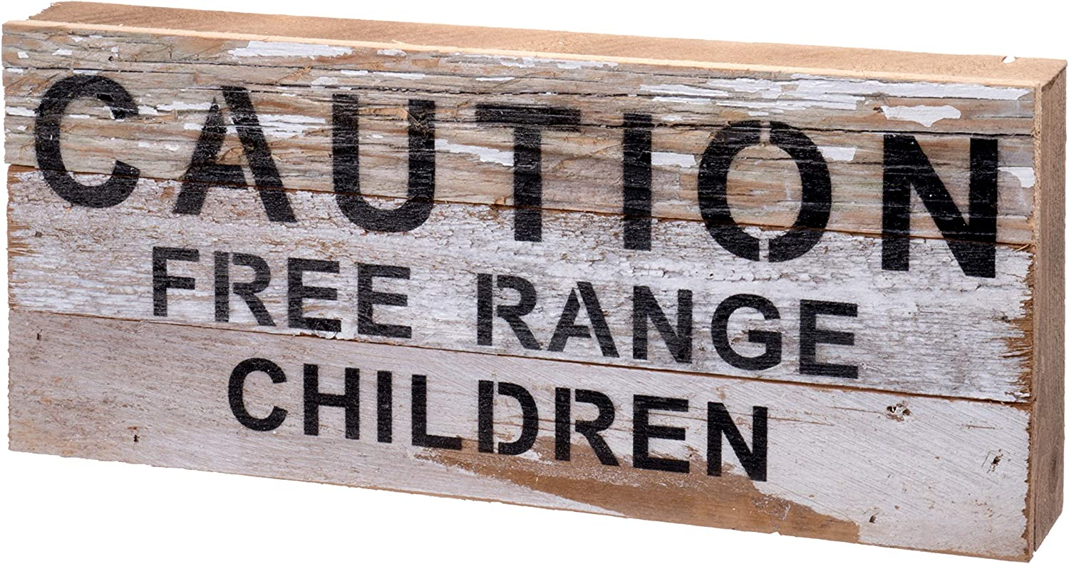Second Nature By Hand 14x6 inch Reclaimed Wood Art, Handcrafted Decorative Wall Plaque — Caution Free Range Children