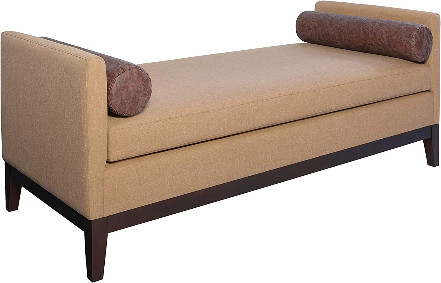 Coaster Home Furnishings Upholstered Wooden Legs Amber and Brown Bench, 68.5