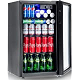Costway 120 Can Beverage Refrigerator and Cooler Mini Fridge with Glass Door for Soda Beer or Wine Small Drink Dispenser Machine for Office or Bar (120 Can)
