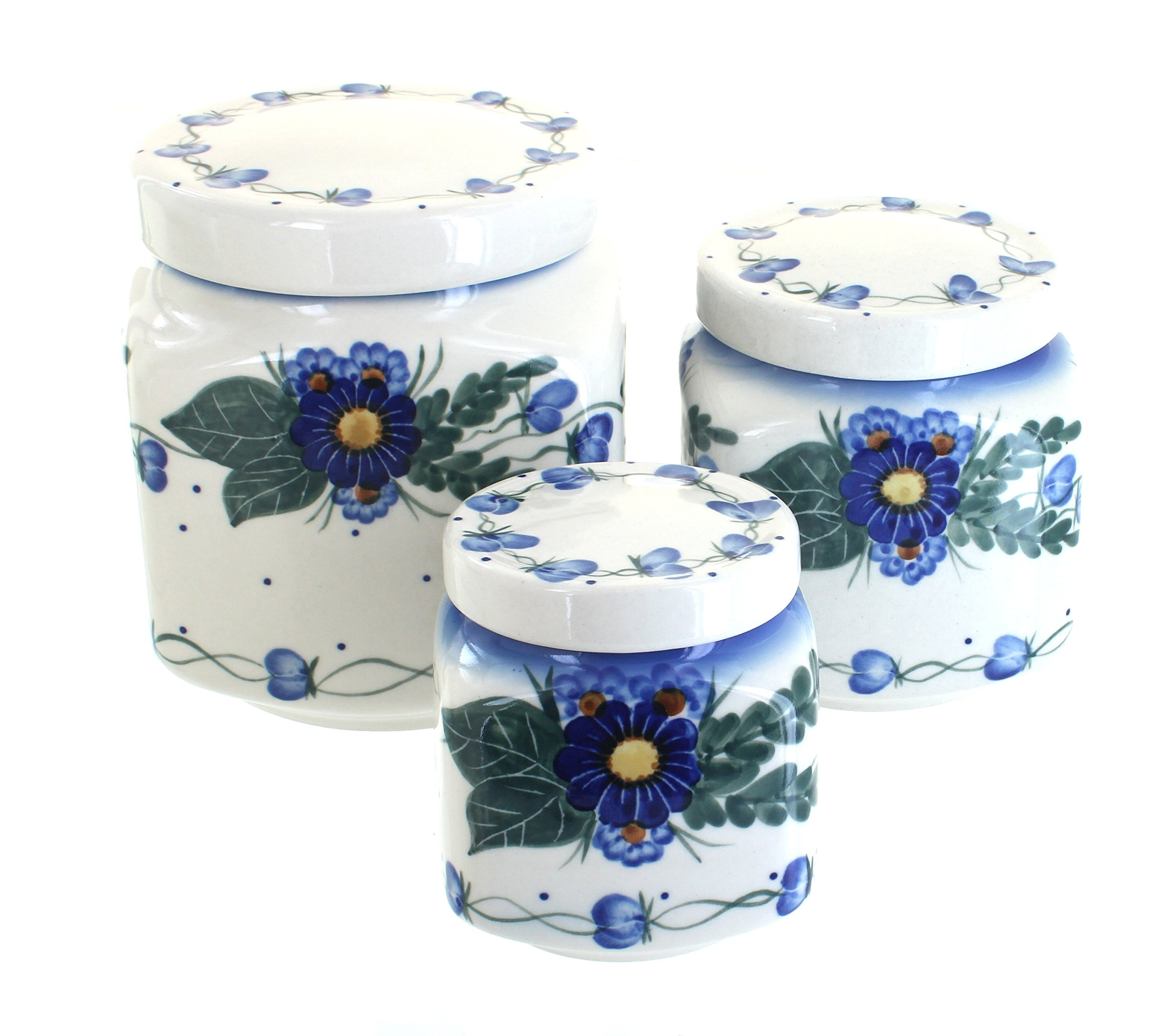 WR Unikat Blue Rose Polish Pottery Forget Me Not 3 Piece Canister Set