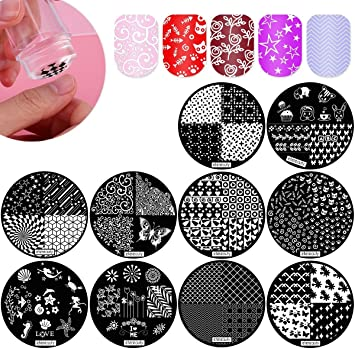 Etereauty nail art stamping kit with 10 manicure plate set nair etereauty nail art stamping kit with 10 manicure plate set nair art polish stamper and prinsesfo Gallery