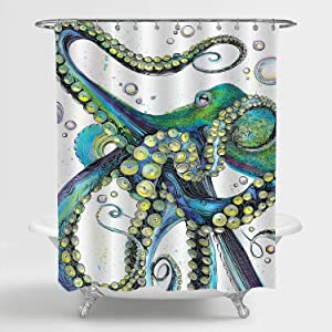MitoVilla Trippy Octopus Shower Curtain, Vintage Sea Wildlife Monster Kraken Tentacles Art Print Bathroom Accessories for Mens and Kids Boy Ocean Theme Room Decor, Green, Yellow, 72