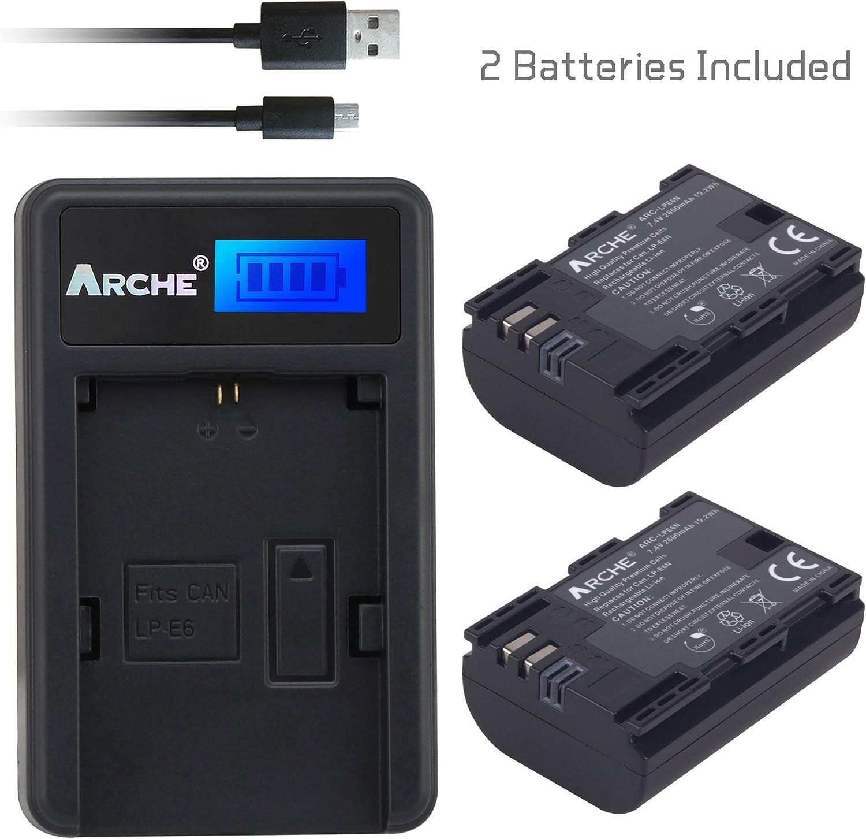 ARCHE 2 Pack Recambio de Batería Canon LP-E6 LP-E6N y Cargador único LCD para Canon EOS 80D, 6D, 7D, 70D, 60D, 5D Mark III, 5D Mark II, BG-E14, BG-E11, BG-E9, BG-E7 Grips: