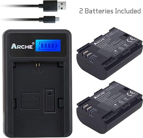 ARCHE 2 Pack Recambio de Batería Canon LP-E6 LP-E6N y Cargador ...