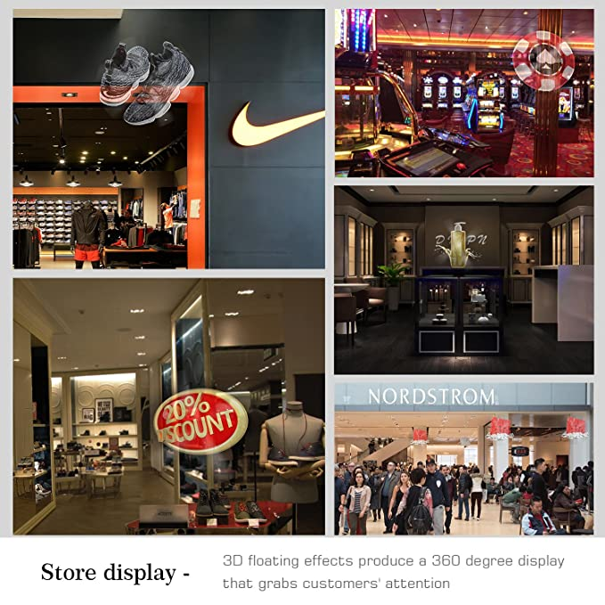 GIWOX 3D Hologram Advertising Display LED Fan, Holographic 3D Photos and  Videos - 3D Naked Eye LED Fan is Best for Store, Shop, Bar, Casino, Holiday