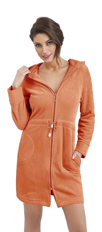 Women Cotton Bath Robe Zip Up Housecoat Dressing Gown Bathrobe