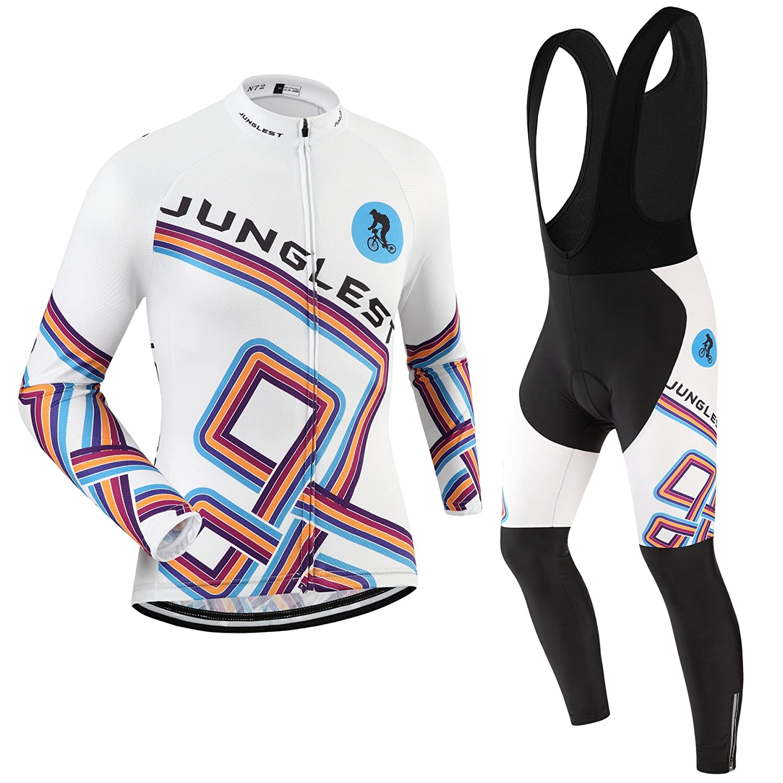 JNL Radtrikot Radhose Herren Langarm Jersey(S5XL,Option Trägerhose,3D Sitzpolster) N72