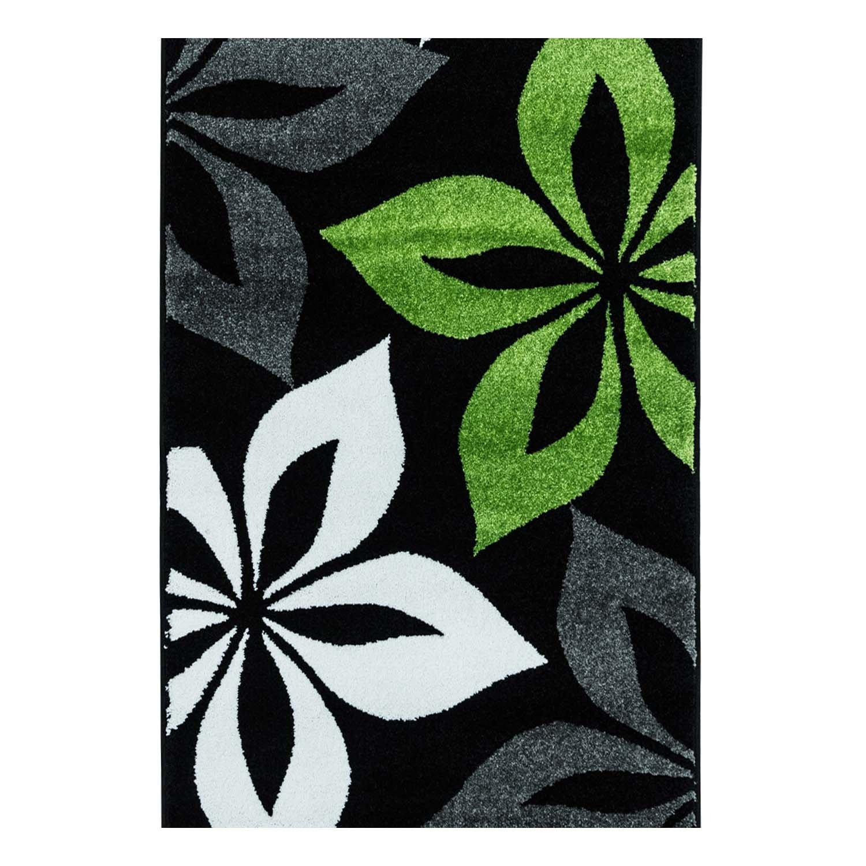 Carpet city Teppich Flachflor Modern Moda mit Blumen Blüten-Muster Blüten-Muster Blüten-Muster in Grau, Türkis, Schwarz für Wohnzimmer; Größe  190x280 cm a06df3