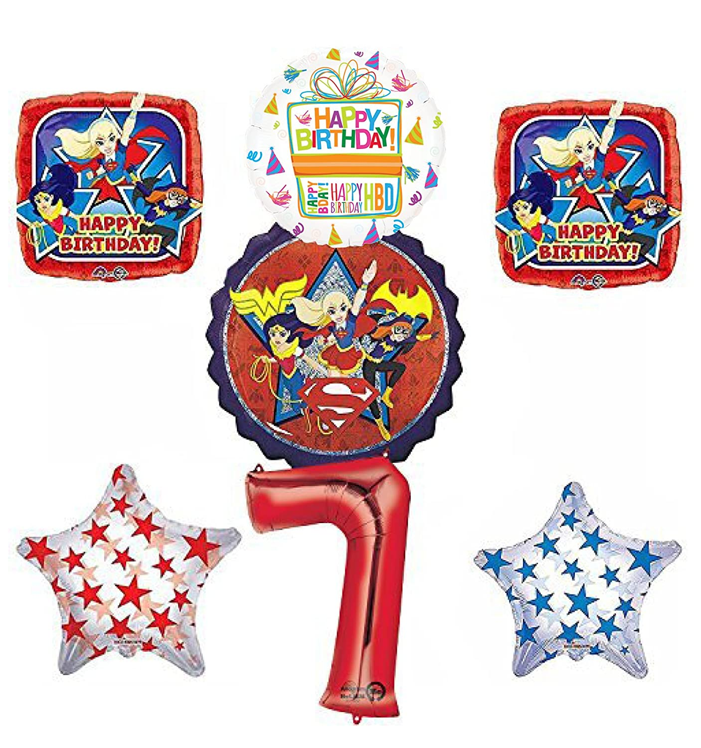 DC Super Hero Girls 7th Birthday Party Supplies and Balloon Decorations   B06XCKFFD6