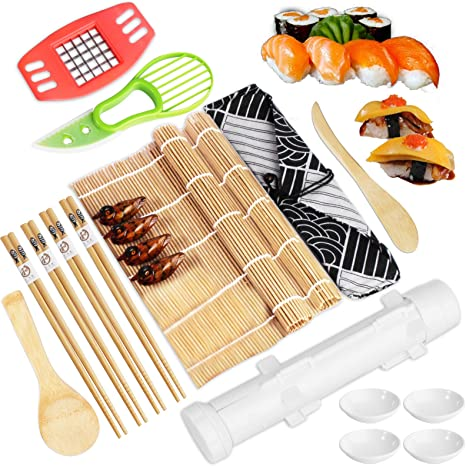 Chopsticks Bamboo Sushi Rolling Mats Rice Paddle Cotton Bag Sushi Roller Kit for Beginner Chopsticks Holder Sushi Maker with Bamboo Mats Avocado Slicer Sushi Mold Sushi Making Kit Spreader