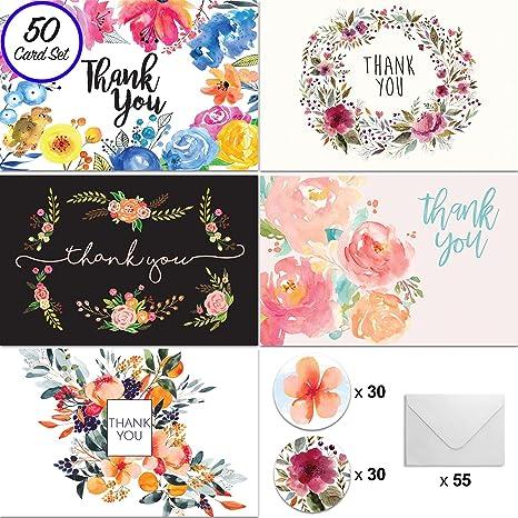 Amazon.com: Floral Tarjeta de agradecimiento – Único diseño ...