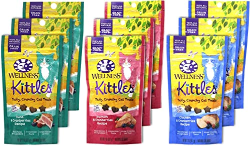Wellness Kittles Cat Treat Variety Pack – 3 Flavors Chicken Cranberries, Salmon Cranberries, and Tuna Cranberries Flavors – 2 oz Each 9 Total Pouches