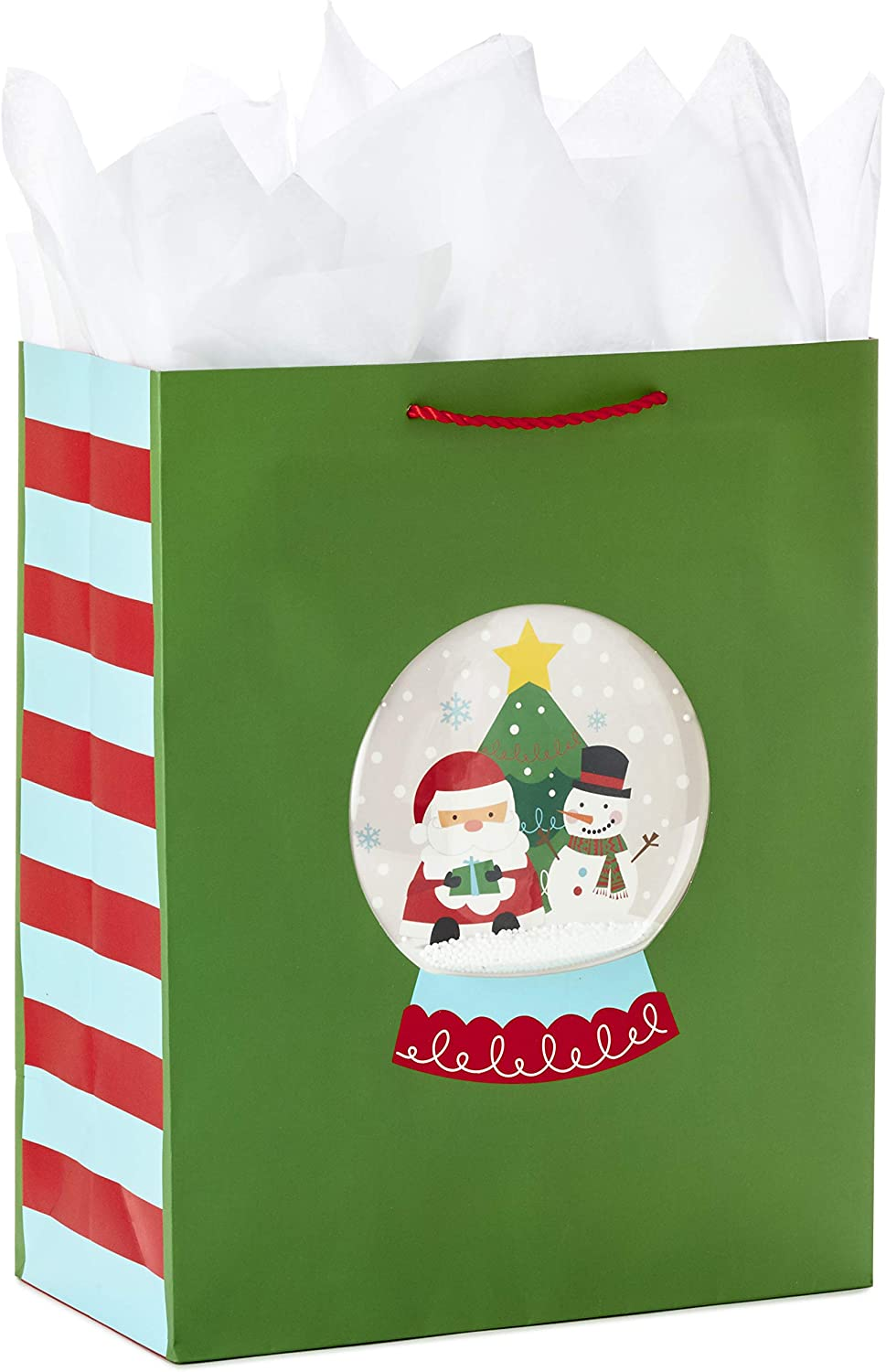 Funny Holiday Pack of 3, Red and Green Hallmark 13 Large Christmas Gift Bag Bundle with Tissue Paper