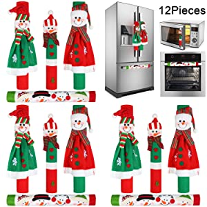Boao 12 Pieces Christmas Refrigerator Door Handle Covers Snowman Pattern Kitchen Appliance Microwave Oven Dishwasher Handle Covers for Christmas Home Kitchen Supplies
