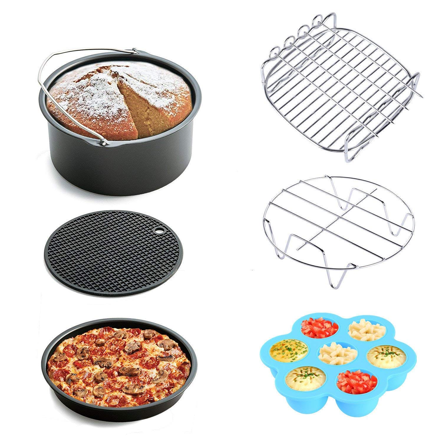 7 Inch Cake pan Silicone Egg Bites Pizza pan, KINDEN 6pcs Air Fryer Accessories, fit All 3.7QT 5.3QT 5.8QT, for Gowise Phillips and Cozyna or More Brand AFA-K07-CA