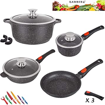 Kamberg 0008166 Set Lot Batterie De Cuisine 10 Pieces Fonte