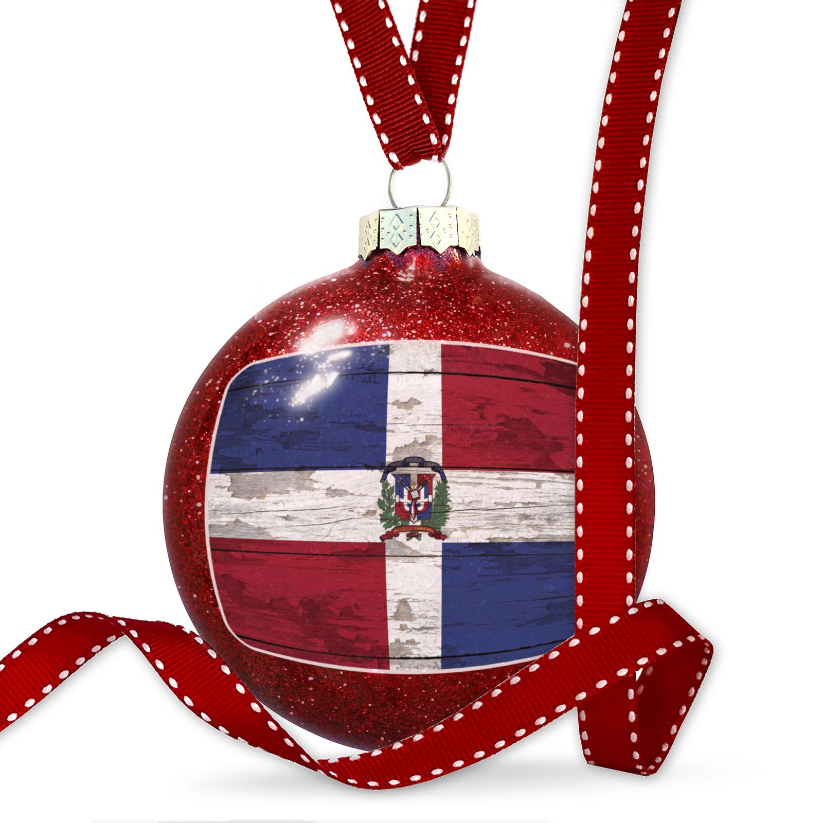 Christmas Decoration Flag on Wood Dominican Republic Ornament
