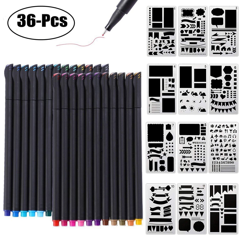 Bullet Journal Stencil and Pen, Outgeek Bullet Journal Accessories 24 PCS Bullet Fineliner Penne e 12 PCS Planner Stencil per DIY Disegnare su Scrapbook