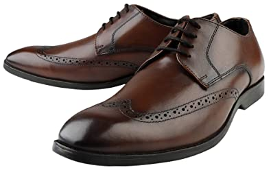 24587c9ba5dc2c Image Unavailable. Image not available for. Colour: Kanprom Men's Brown  Genuine Leather Formal Derby Lace-Up Brogue Shoes