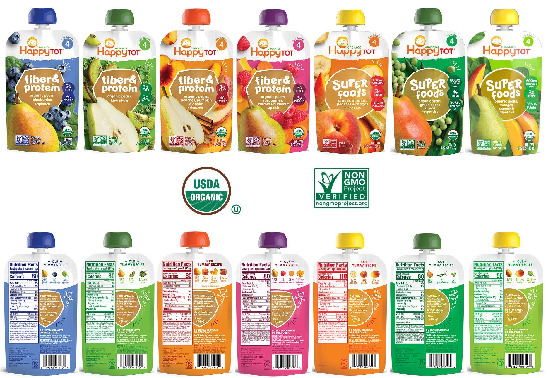 Happy Tot Organic Superfoods and Fiber&Protein Stage 4 Baby Food Assortment Variety Packs 7 Flavors (Pack of 14)