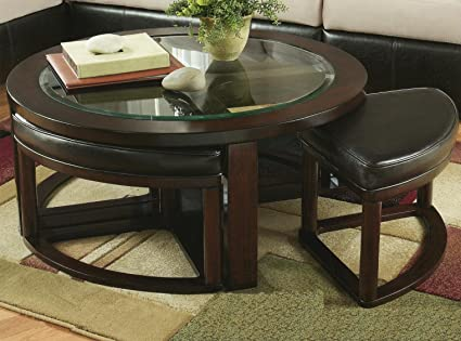 Charmant Roundhill Furniture Cylina Solid Wood Glass Top Round Coffee Table With 4  Stools