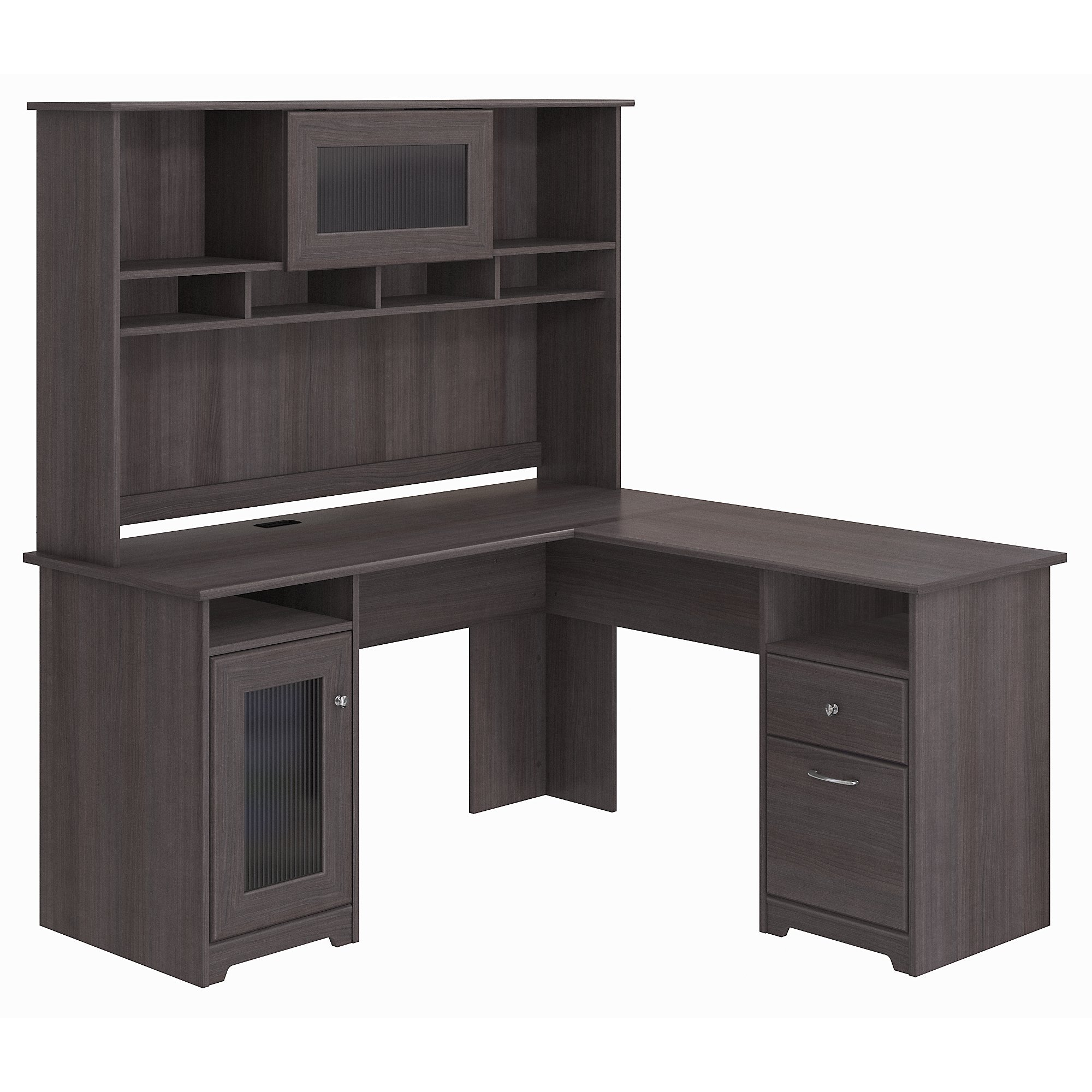 Bush Furniture Cabot L Shaped Desk with Hutch in Heather Gray by Bush Furniture