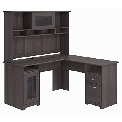 Cool Bush Furniture Cabot L Shaped Desk With Hutch In Heather Gray Interior Design Ideas Jittwwsoteloinfo