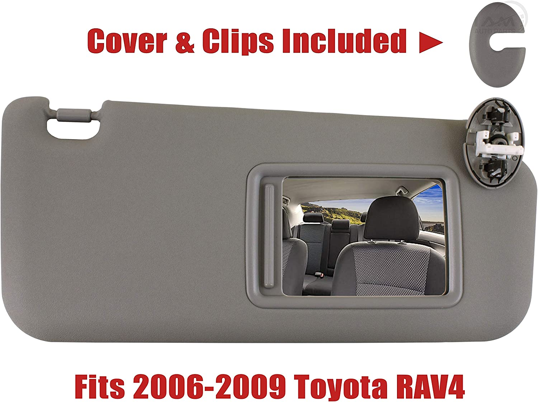 IAMAUTO 08253 Left Driver Side Gray Sun Visor for 2006 2007 2008 2009 Toyota RAV4 with Vanity Light