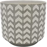 "Amazon Brand – Rivet Rustic Chevron-Patterned Stoneware Planter, 6.3""H, White and Gray"