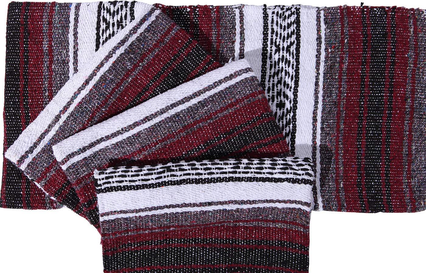 El Paso Designs Genuine Mexican Falsa Blanket - Yoga Studio Blanket, Colorful, Soft Woven Serape Imported from Mexico (Burgundy) by El Paso Designs (Image #4)