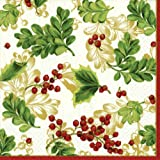 Entertaining with Caspari Winter Berries Ivory Paper Cocktail Napkins, Pack of 20