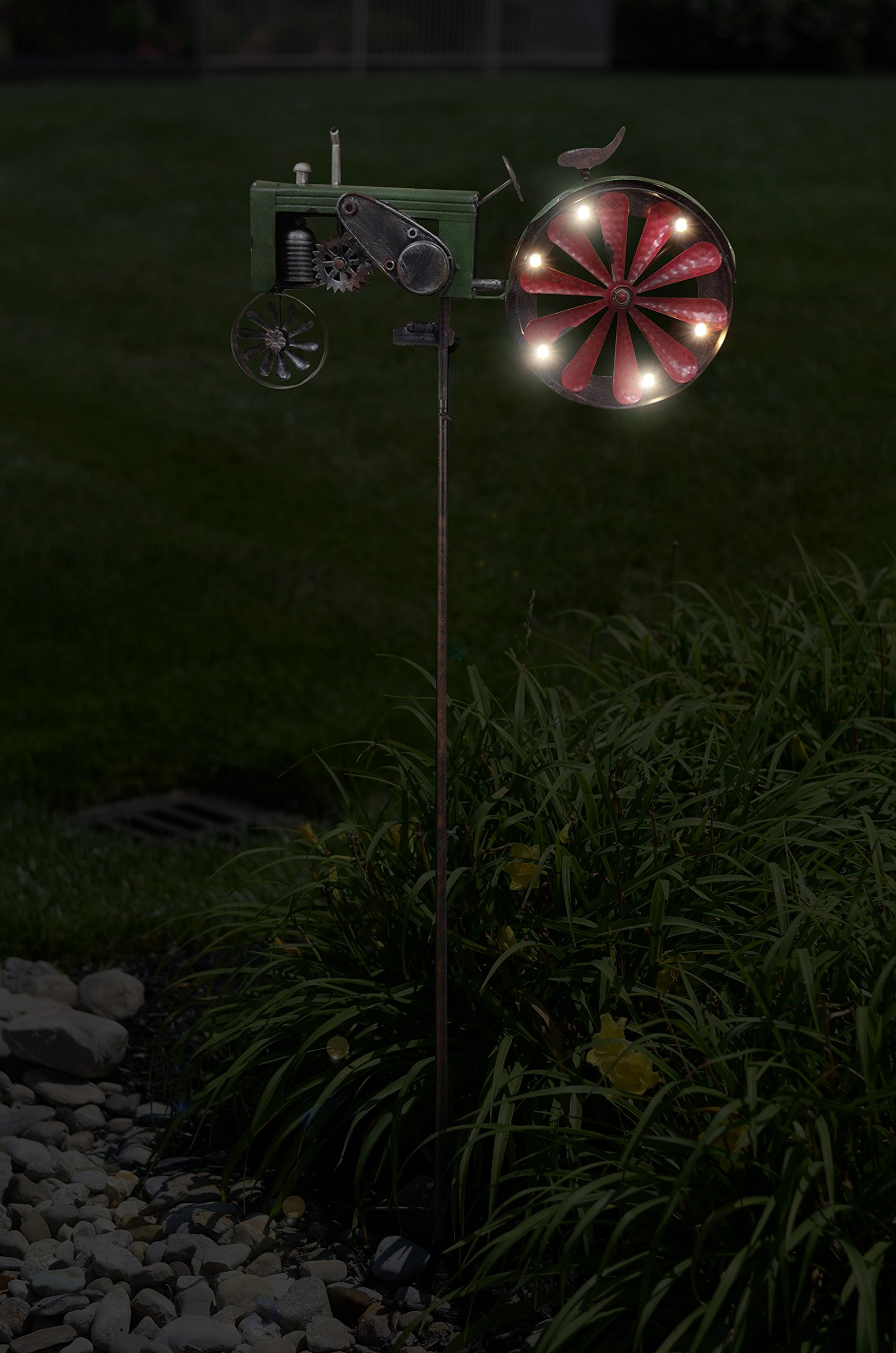 Red Carpet Studios Metal Yard Stake Wind Spinner with Solar Powered Lights, Tractor