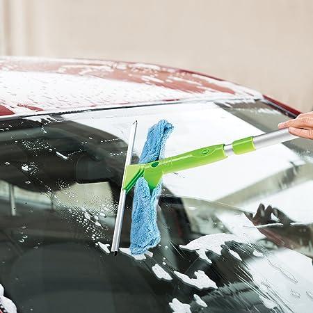 2-in-1 Combi Verre Non Streak d/époussi/éreur et Caoutchouc dessuie-Glace Nettoyage Kit de Voiture Raclette et Window Cleaner Microfibre TRIXES Nettoyage de vitres Kit