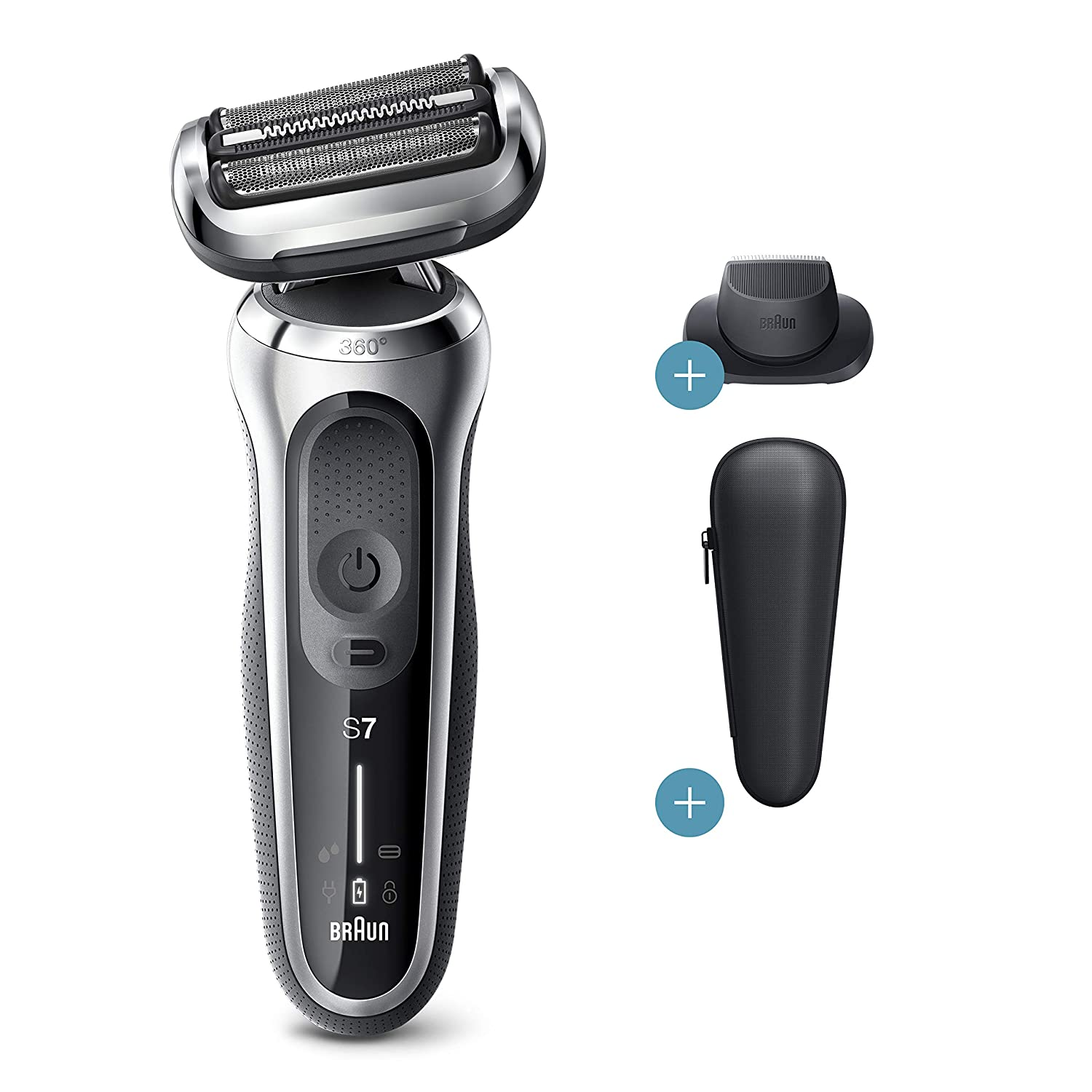 Braun Series 7 7020s Flex Electric Razor for Men with Precision Trimmer, Wet & Dry, Rechargeable, Cordless Foil Shaver, Silver
