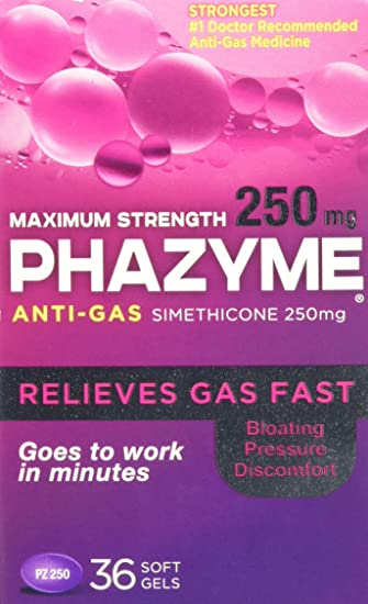 amazon com phazyme maximum strength softgels 250 mg 36 ct