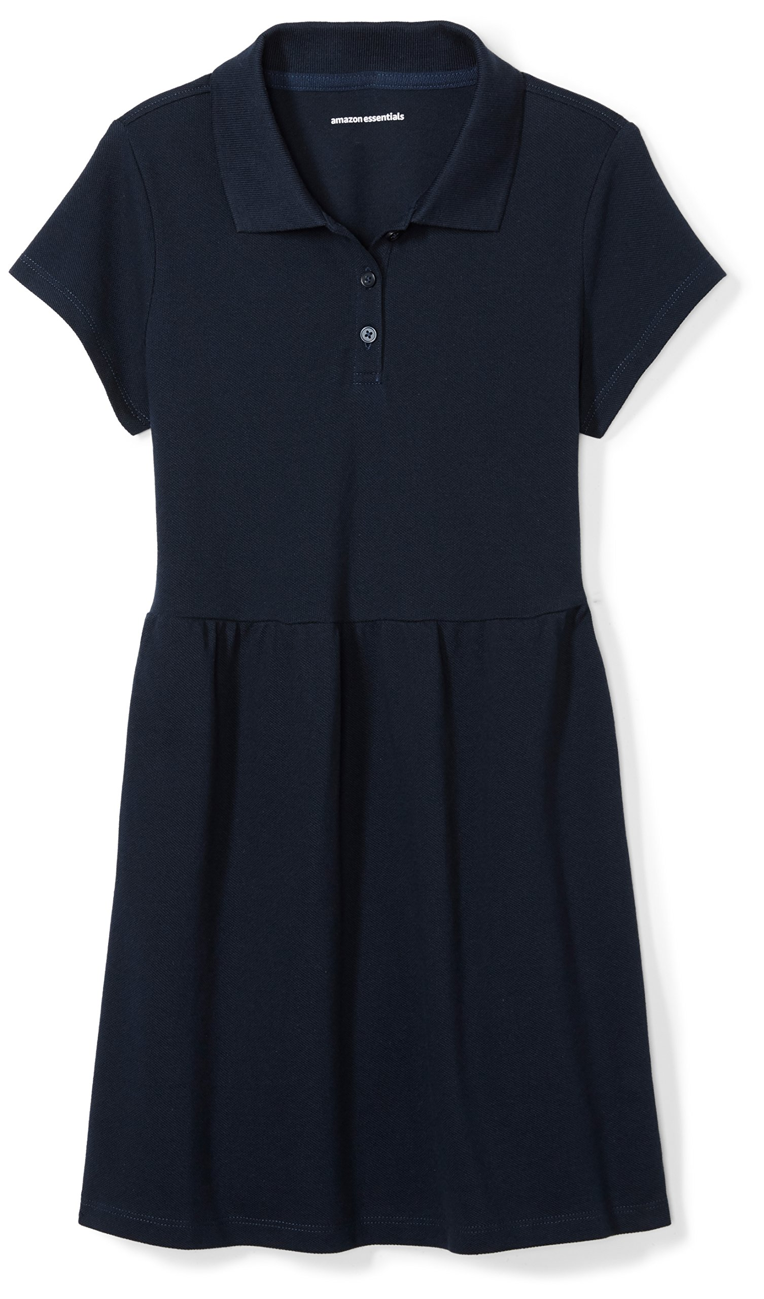 Amazon Essentials Girls' Short-Sleeve Polo Dress, Navy, S (6-7)
