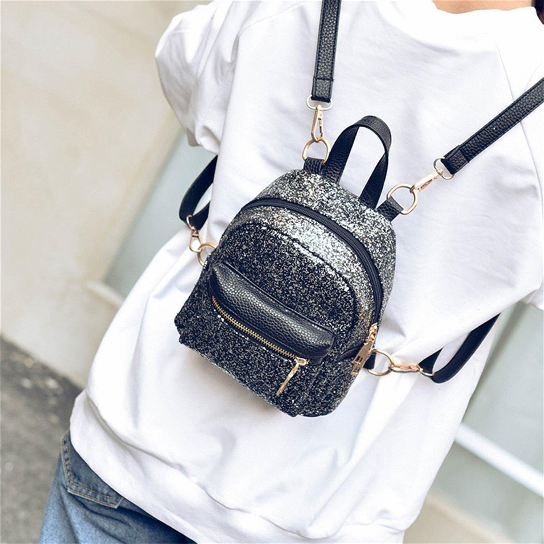641b9e29f709 Amazon.com: Evan Fordd Fashion Pu Leather Bling Backpack Bag Mini ...