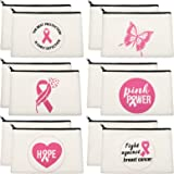 Sherli 12 Pieces Breast Cancer Awareness Canvas Makeup Bags Pink Ribbon Loiletry Bag Pink Ribbon Inspirational Makeup Zipper