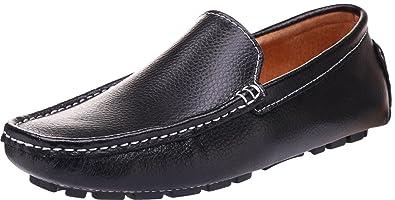 SEECEE Herren Mokassins Große Größe Leder Bootsschuhe Weich Männer Fahrschuhe Slipper Freizeitschuhe Loafers Schuhe Dunkelblau 44 EU wkPJr4QomT