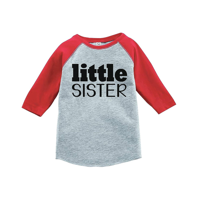 7 ate 9 Apparel Girls Little Sister Red Baseball Tee