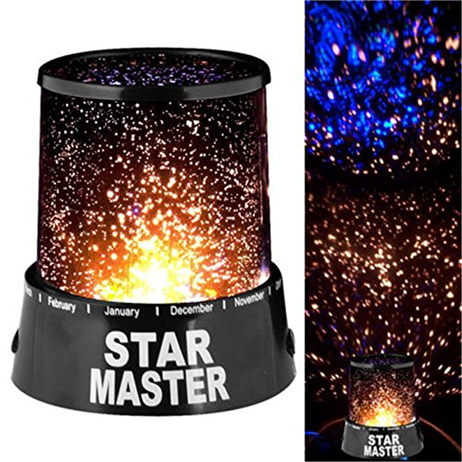 Amazon com flying rabbit night light moon star projector 360 degree rotation 4 led bulbs 9 light colors changing with usb cable unique gifts for men